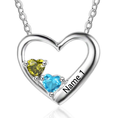 Platinum Plated Silver Necklace Engraved Heart Necklace With Birthstones Perfect Gift For Her