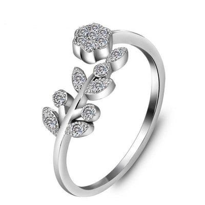 Flower & Leaves Adjustable Ring Silver Color Copper Rings for Women Girls Fashion Wedding Accessories