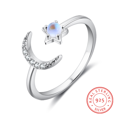 925 Sterling Silver Moonstone Open Adjustable Ring Female Jewelry Cubic Zirconia Stone Moon Star Rings for Women