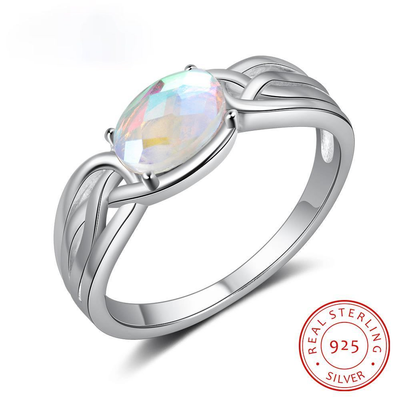 925 Sterling Silver Oval Rainbow Moonstone Rings for Women Silver 925 Braided Wide Ring Jewelry GIfts for Girlfriend