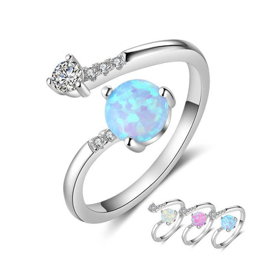 Elegant 925 Sterling Silver Wrap Adjustable Ring Blue Pink White Opal Rings Wedding Jewelry