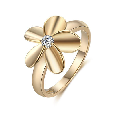 Minimalist Golden Floral Ring With Gemstone Female Decoration Flower Zircon Romantic Gift