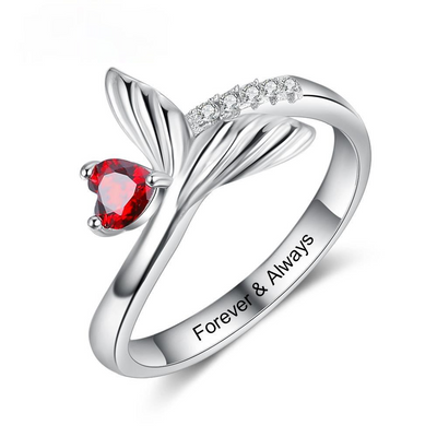 Personalized Birthstone Fish Tail Rings for Women Customized Heart Stone Engraved Ring Christmas Birthday Gifts