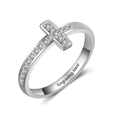 Personalized Cubic Zirconia Cross Rings for Women Customized Inner Engraved Name Ring