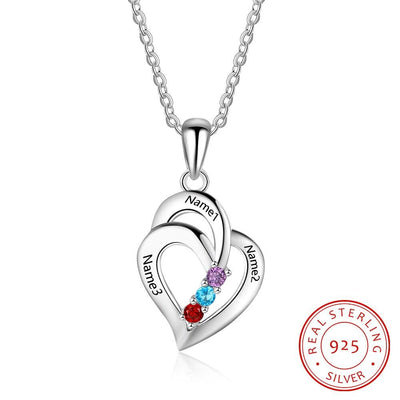925 Sterling Silver Personalized Mothers Necklace with 3 Birthstones Romantic Engrave Name Heart Pendants Gifts for Her