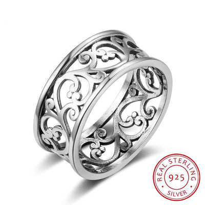 Solid 925 Sterling Silver Female Rings Vine Wave Pattern Vintage Style Rings High Quality Jewelry Sister Gift