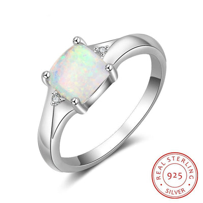 Square Created White Opal Stone 925 Sterling Silver Rings for Women Elegant Female Finger Ring Silver 925 Fine Jewelry