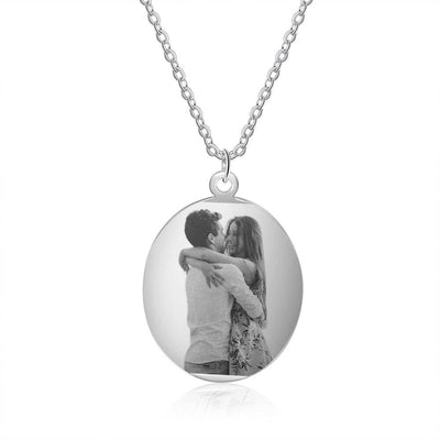 Stainless Steel Custom Photo Necklace Personalized Engraved Oval Pendant Necklace Gifts for Lovers