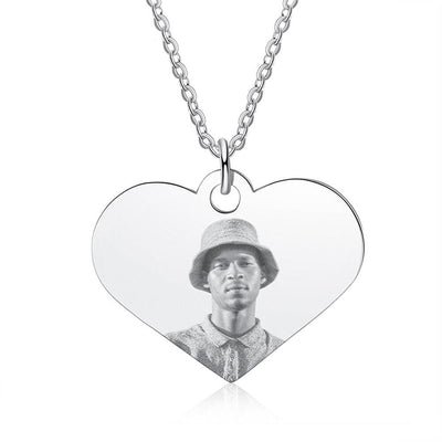 Stainless Steel Customized Photo Heart Necklaces Personalized Engraving Necklaces for Women Anniversary Gift for Family