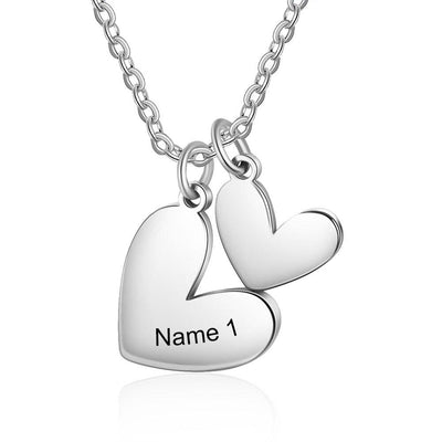 Stainless Steel Customized Double Heart Necklace Personalized Name Engraving Pendants for Women Anniversary Gifts