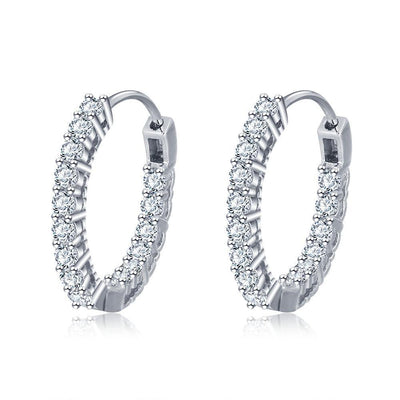 Trendy 925 Sterling Silver Hoop Earrings for Women Sparkling Cubic Zirconia Wedding Jewelry Gift for Girls