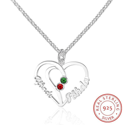 Unique Heart Lovers Gift Personalized 925 Sterling Silver Birthstone Name Necklace