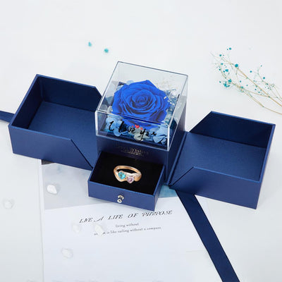 Valentine's Day Limited Custom Gift Box - Preserved Fresh Roses Jewelry Box With Surprising Exquisite Gemstone Heart-shape Ring