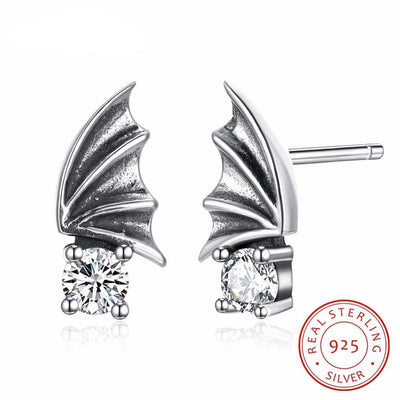 Vintage Wing Design Solid 925 Sterling Silver Stud Earrings For Women Round Cubic Zirconia OL Jewelry
