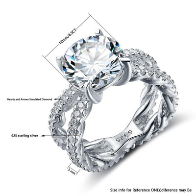 Wedding Ring 12mm 6.5 CT Hearts And Arrows Cubic Zirconia 925 Sterling Silver Rings For Women