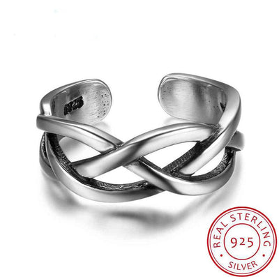 New Women Real 925 Sterling Silver Ring Open Cuff Adjustable Wave Shape Ring Trendy Party Style Gift to Girls