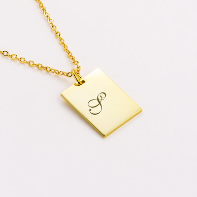 Custom Capital Letter Carved Square Pendant Necklace Sterling Silver 925 Gold Plated Chain