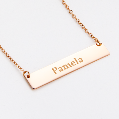 Rose Gold Plated Bar Necklace Custom Name Carved  Necklace Sterling Silver 925 Bar Pendant Chain