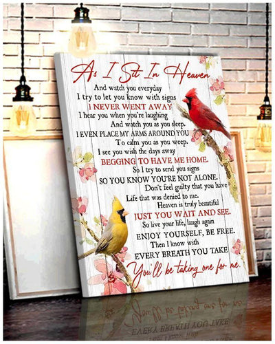 Omegaspeaker - Cardinal - As I Sit In Heaven Canvas Wall Art/ Decor/ Gift-Love Cardinal