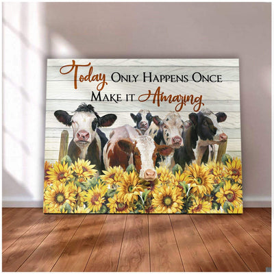 Omegaspeaker - Cow- Make it amazing Canvas Wall Art/ Decor/ Gift-Love Cow