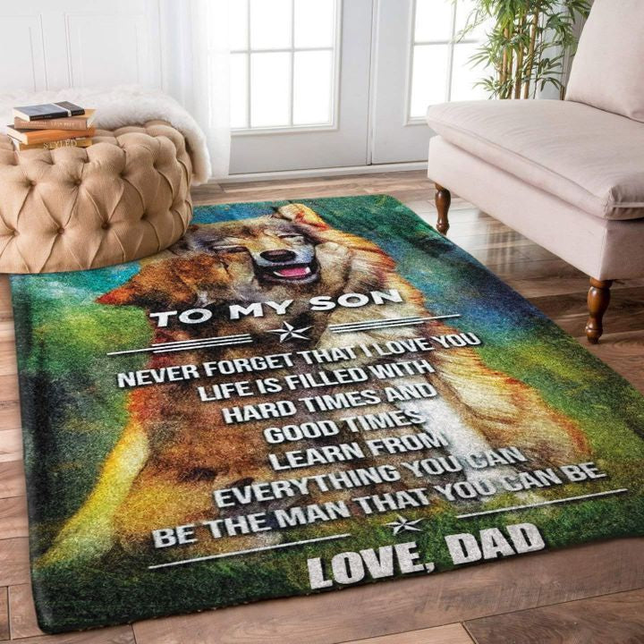 OmegaSpeaker-Christmas Gift Dad And Son Wolf  Rug GIFT - HOME DECOR