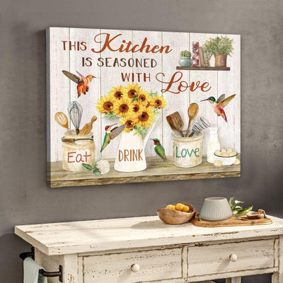 Omegaspeaker This Kitchen Hummingbird Canvas Wall Art/ Decor/ Gift--Love Hummingbird