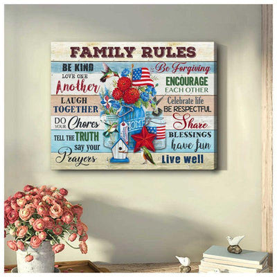 Omegaspeaker Hummingbird Family Rules Canvas Wall Art/ Decor/ Gift-Love Hummingbird