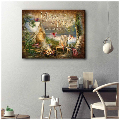 Omegaspeaker You and Me Camping Cardinal Canvas Wall Art/ Decor/ Gift-Love Cardinal