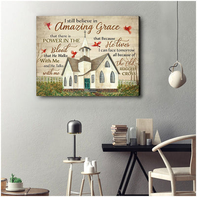 Omegaspeaker Amazing Grace Church and Cardinal Canvas Wall Art/ Decor/ Gift-Love Cardinal
