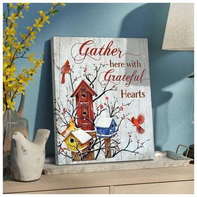 Omegaspeaker Gorgeous Cardinal Canvas Gather Here Wall Art/ Decor/ Gift-Love Cardinal