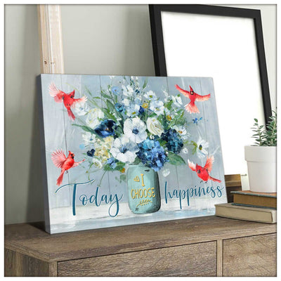 Omegaspeaker Today I choose Happiness Cardinal Canvas Wall Art/ Decor/ Gift-Love Cardinal
