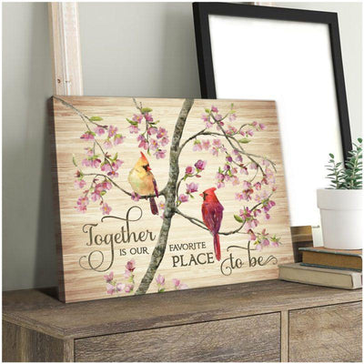 Omegaspeaker -Cardinal-Together Is Our Favorite Place Canvas Wall Art/ Decor/ Gift-Love Cardinal