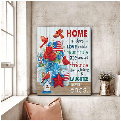 Omegaspeaker-Cardinal-Home is where love resides Canvas Wall Art/ Decor/ Gift-Love Cardinal