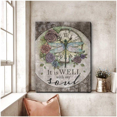 Omegaspeaker Dragonfly Canvas It Is Well With My Soul Wall Art/ Decor/ Gift-Love Dradonfly