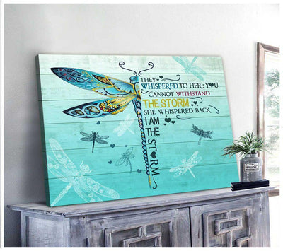 Omegaspeaker Gorgeous Dragonfly I am the storm Canvas Wall Art/ Decor/ Gift-Love Dradonfly