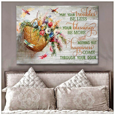 Omegaspeaker Happiness come through your door Dragonfly Canvas Wall Art/ Decor/ Gift-Love Dradonfly