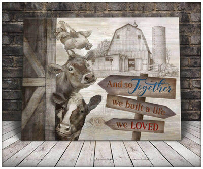 Omegaspeaker Top 5 Beautiful Farm Animals Together We Built A Life We Loved Canvas Wall Art/ Decor/ Gift-Love Animals