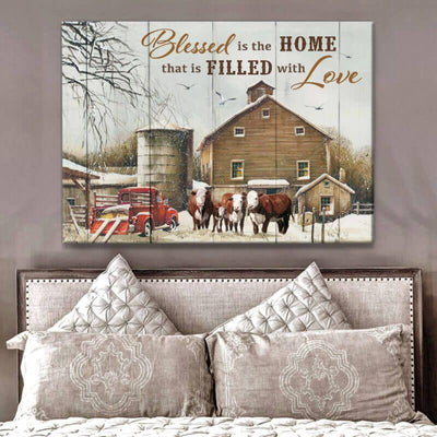 Omegaspeaker Blessed is the home Cow Canvas Wall Art/ Decor/ Gift-Love Cow