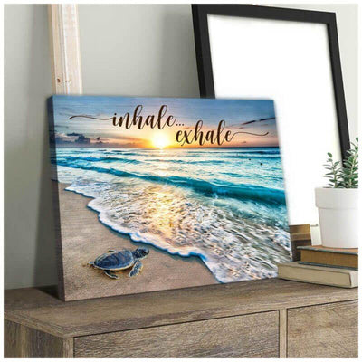 Omegaspeaker Beautiful Beach and Turtle Canvas Inhale Exhale Beach House Canvas Wall Art/ Decor/ Gift-Love Turtle