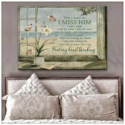 Omegaspeaker Gorgeous Beach and Butterfly Canvas When I simply say I miss him Bereavement Wall Art/ Decor/ Gift-Love Butterfly