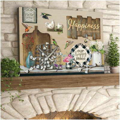 Omegaspeaker-Happiness is homemade Home Sweet Home Wall Art/ Decor/ Gift-Love Hummingbird