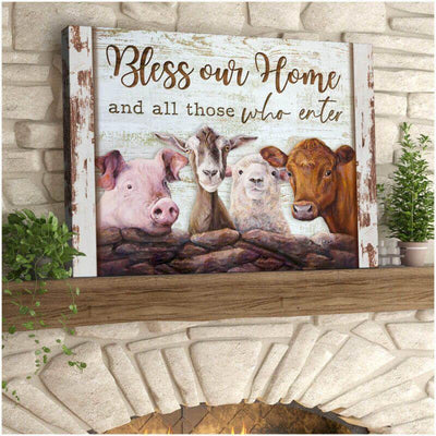 Omegaspeaker  Top 10 Beautiful Farmhouse Canvas Bless our home and all those who enter Wall Art/ Decor/ Gift-Love Farm