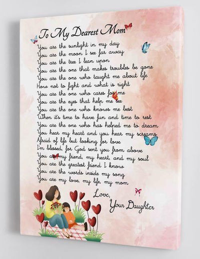 Omegaspeaker-To My Dearest Mom- Mother's Day Canvas Wall Art/ Decor/ Gift