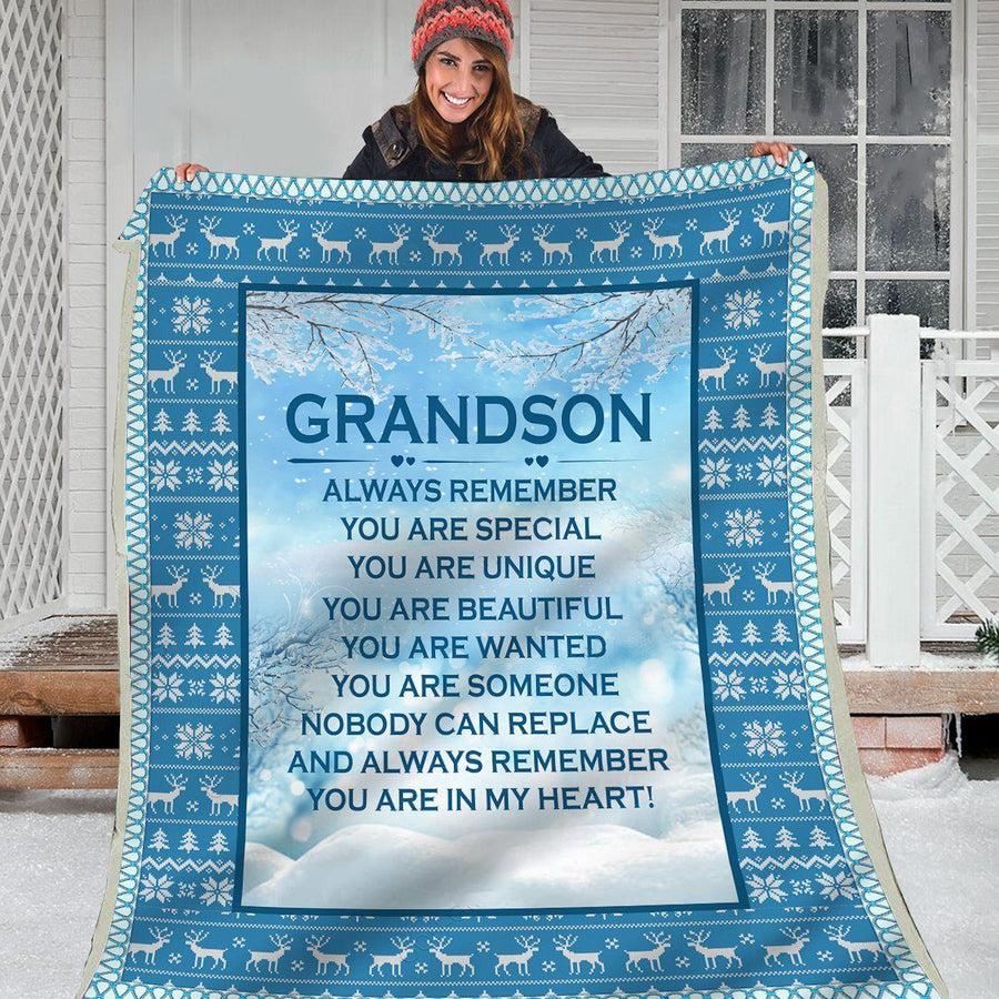 Omegaspeaker-Christmas Gift Idea-Blanket-Grandson-Nobody Can Replace You
