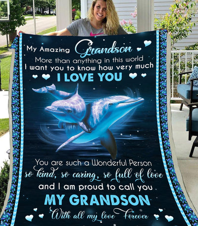 Omegaspeaker-Blanket-Christmas Gift Idea-Grandson-With All My Love Forever