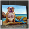 Omegaspeaker-Canvas- Bulldog Mermaid Wall Art/ Decor/ Gift-Love Dog
