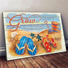 Omegaspeaker- Beach- Turtle- Flip Flops-Grow Along With Me The Best Is Yet To Be Canvas Wall Art/ Decor/ Gift-Love Beach
