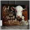 Omegaspeaker - CANVAS - Cow - God Is Within Her Wall Art/ Decor/ Gift-Love Cow