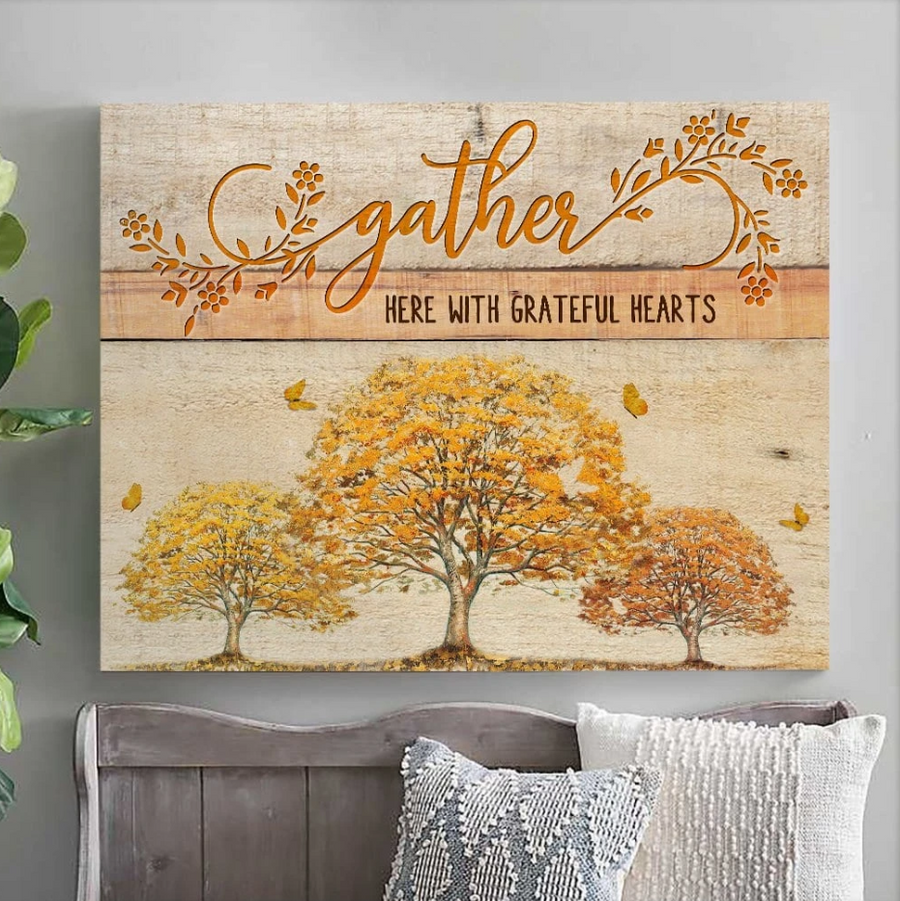 Omegaspeaker -CANVAS - Gather here with grateful hearts Wall Art Canvas - Gift for Husband/Wife