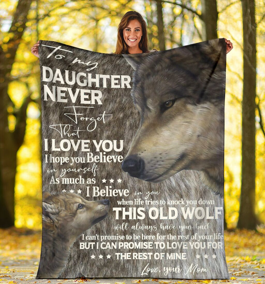 Omegaspeaker-Fleece Blanket - Wolf - To my daughter I believe in you - Love mom - Christmas gift